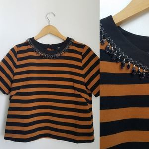 H&M Striped Jeweled Neck Top NWT